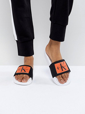 Calvin Klein Chloe Black and Orange Sliders - Black/orange