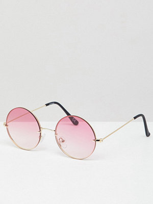 Solglasögon - ASOS DESIGN Round Sunglasses In Silver With Pink Fade Laid On Lens