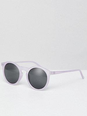 Solglasögon - ASOS DESIGN Round Sunglasses In Crystal Lilac With Smoke Lens