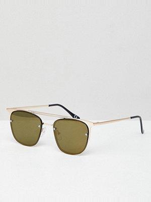 Solglasögon - ASOS DESIGN Retro Sunglasses In Brushed Gold With Green Lens