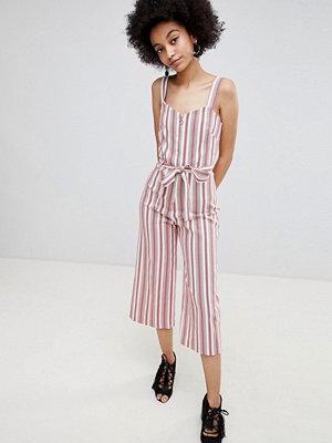 Miss Selfridge Stripe Culotte Tie Waist Jumpsuit - Red stripe