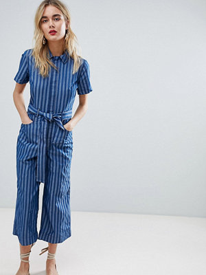 Warehouse Tie Waist Stripe Jumpsuit - Mid wash