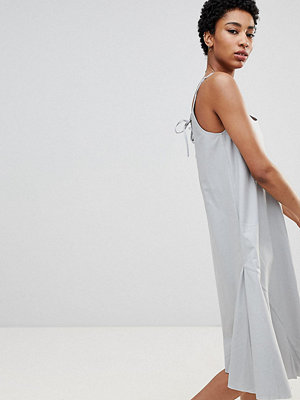 Asos Tall ASOS DESIGN Tall Trapeze Swing Lace Up Back Midi Sundress - Duck egg