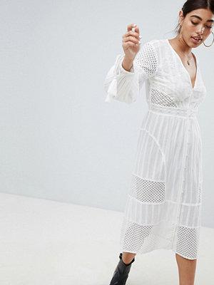 River Island Tassel Sleeve Broderie Midi Dress - White plain