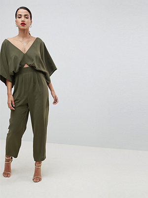ASOS DESIGN Jumpsuit With Kimono Sleeve And Peg Leg - Olive