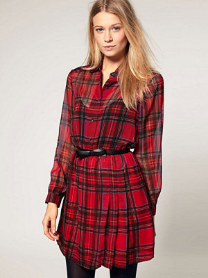 Motel Scarlet Dress in Tartan Chiffon