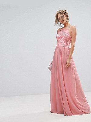 Chi Chi London Premium Lace Maxi Dress With Chiffon Skirt - Coral