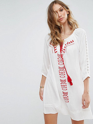 Brave Soul Robina Embroidred Tunic Dress - Off whi red