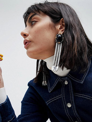 ASOS örhängen DESIGN Statement Stone And Tipped Chain Tassel Earrings - Burnished silver