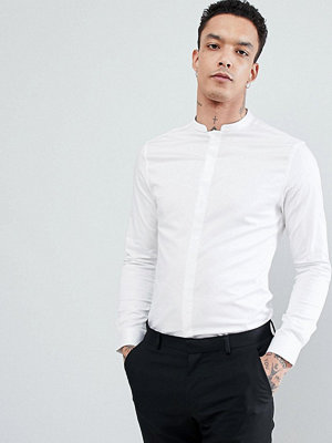 ASOS DESIGN skinny sateen shirt with manderin collar