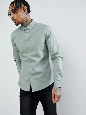 ASOS DESIGN slim shirt in green with button down collar