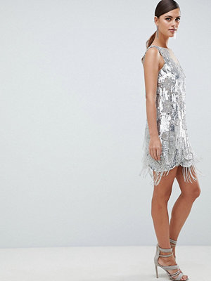 ASOS Edition Mini Dress In All Over Sequins And Tassel Fringe - Silver