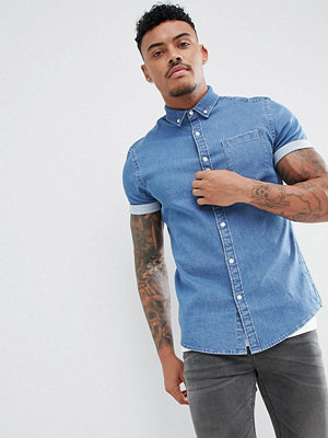 ASOS DESIGN Stretch Slim Denim Shirt In Mid Wash - Mid wash
