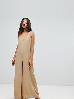 Asos Tall ASOS DESIGN Tall Deep V Strap Back Jumpsuit - Light khaki
