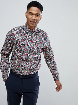 Selected Homme Slim Fit Smart Shirt With All Over Print - Syrah