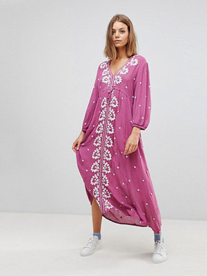 Free People Embroidered V-Neck Maxi Dress