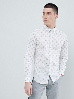 Selected Homme Slim Fit Shirt With All Over Print - White mini