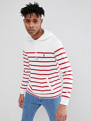 Polo Ralph Lauren Pima Cotton Stripe Hooded Long Sleeve Top Polo Player Kangaroo Pocket in White/Red - White/ralph red