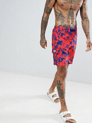 Polo Ralph Lauren Kailua Tropical Safari Print Board Swim Shorts Player Logo in Red - Safari tropical