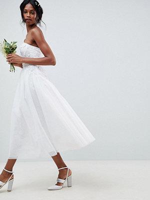 ASOS Edition Bandeau Tulle Embellished Midi Wedding Dress