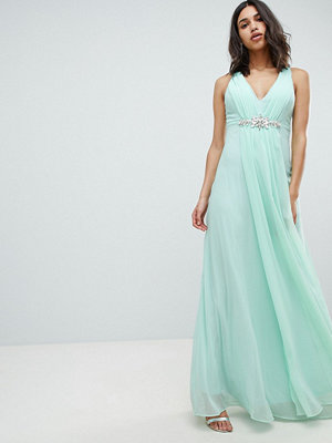 City Goddess Wedding Peplum Maxi Dress With Embellished Detail - Sage