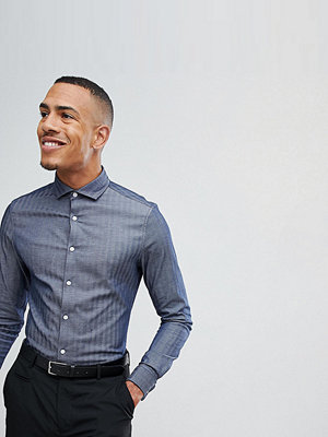 ASOS DESIGN Tall Slim Shirt In Herringbone With Double Cuff