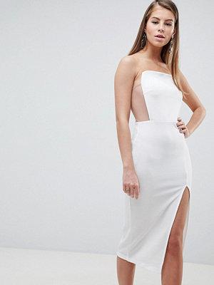 ASOS DESIGN Extreme Square Neck Mesh Detail Midi Dress