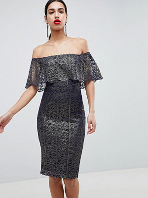 Girl In Mind Bardot Frill Midi Dress
