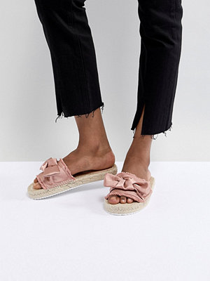 Miss Selfridge Bow Espadrille Sandals - Blush satin