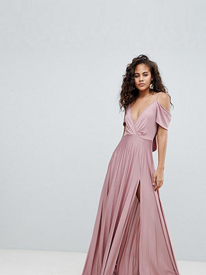 Asos Tall ASOS DESIGN Tall cold shoulder cowl back pleated maxi dress - Rose pink