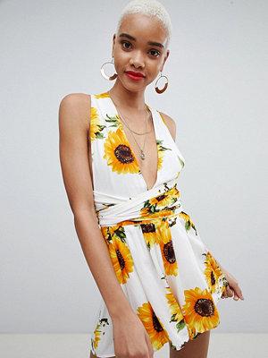 PrettyLittleThing Sunflower Print Tie Waist Playsuit