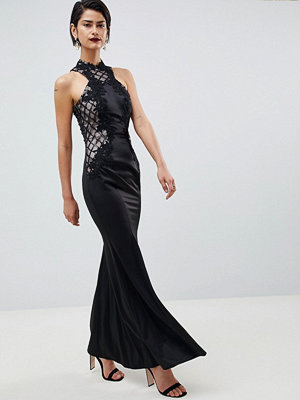 Little Mistress Grid Mesh Maxi Dress
