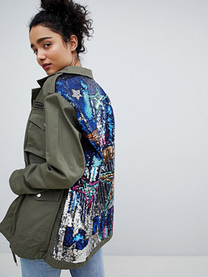 Bershka sequined cargo jacket in khaki - Khaki