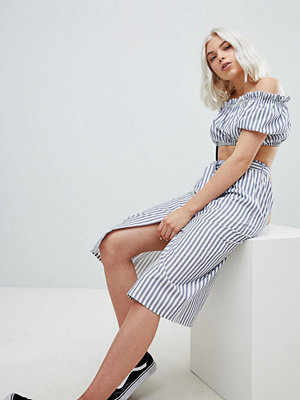Pull&Bear button detail midi skirt in stripe