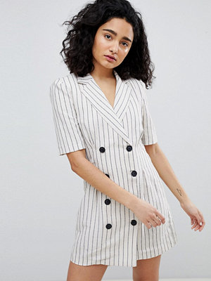Bershka stripe blazer dress in cream - Ecru