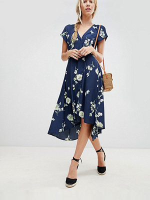 Free People Lost In You floral dip hem wrap dress - Blue combo