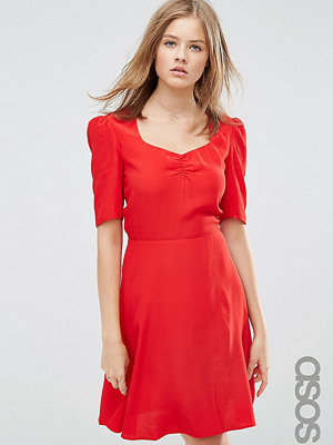 Asos Tall Woven 3/4 Sleeve Tea Dress With Sweetheart Neckline