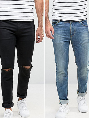 ASOS Skinny Jeans 2 Pack In Black With Knee Rips & Mid Blue SAVE - Black / mid blue