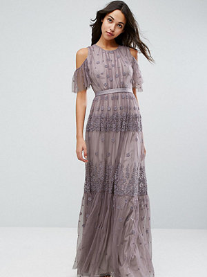 Needle & Thread Daisy Embroidery Maxi Dress With Cold Shoulder - Lavender