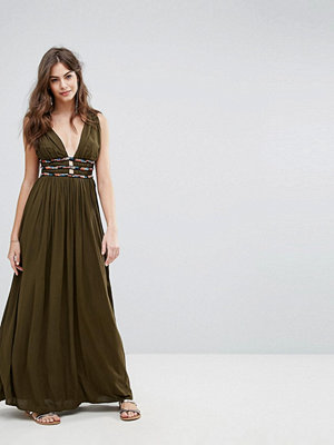 French Connection Hasan Beading Halter Maxi Dress - Military green