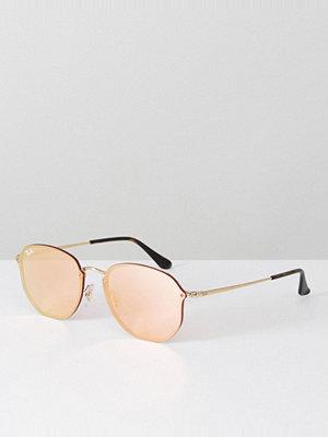 Ray-Ban Hexagonal Flat Lens Sunglasses in Pink Flash Lens - Matte tortoise