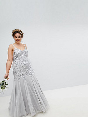Maya Plus All Over Sequin Cami Strap Fishtail Maxi Bridesmaid Dress - Micro chip