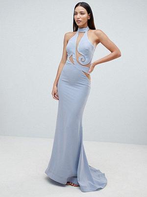 Forever Unique Halter Swirl Mesh Maxi Dress