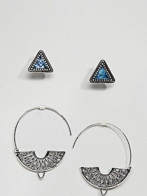 ASOS örhängen DESIGN Pack Of 2 Triangle Stone Stud And Engraved Pull Through Earrings - Burnished silver