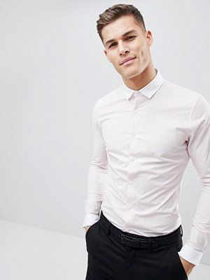 ASOS DESIGN Smart Sretch Slim Check Shirt With Contrast Collar And Cuff