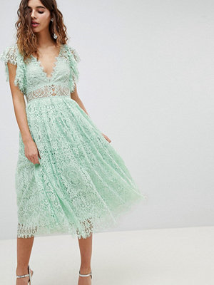 ASOS DESIGN Lace Prom Midi Dress With Frill Sleeve - Mint