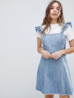 Only Cami Ruffle Denim Pinafore Dress