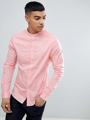 ASOS DESIGN Skinny Shirt In Pink With Grandad Collar