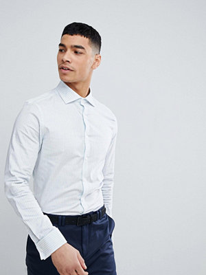 ASOS DESIGN smart stretch slim royal oxford stripe shirt with cutaway collar and double cuffs