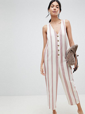 Asos Tall ASOS DESIGN Tall Jumpsuit In Stripe With Horn Button Detail